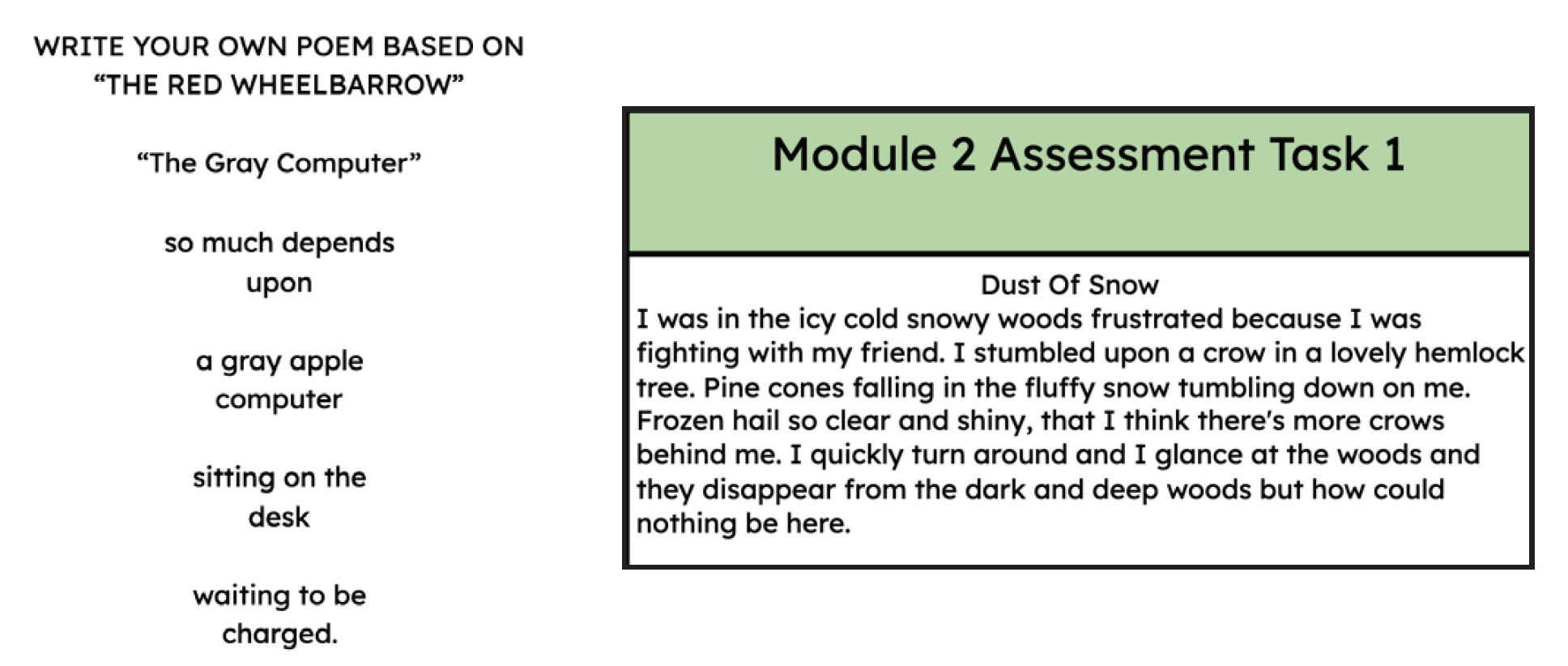 Two samples of student work based on the texts they read in class.