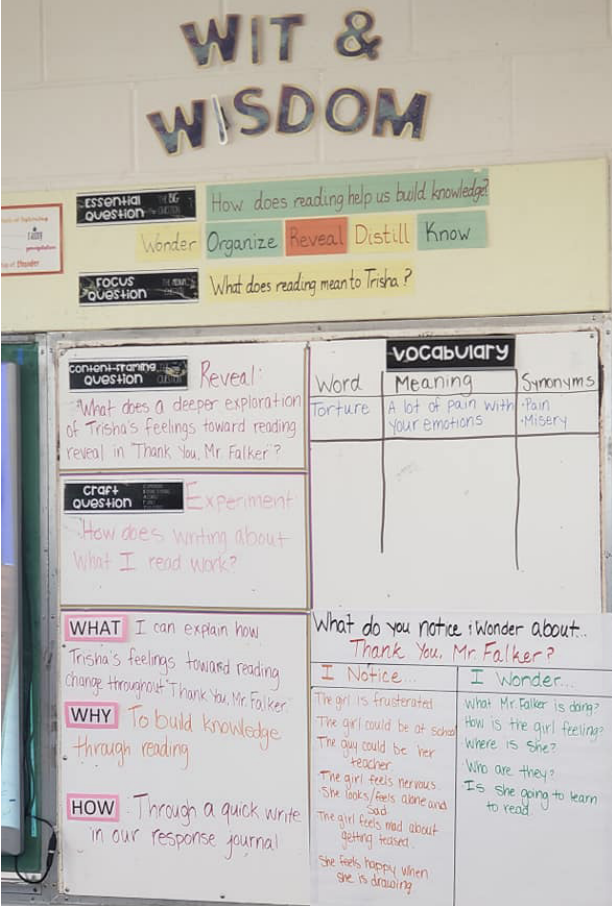 A Wit & Wisdom Notice and Wonder Chart on a classroom bulletin board. Vocabulary words also appear on the board as well as the what, why, and how of the story.