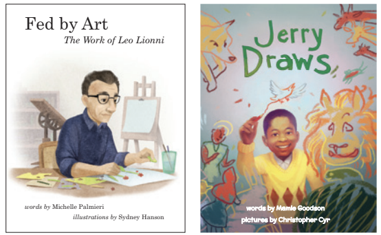 Two book covers. The one on the left features a man sitting at a table painting with an easel in the background. The book cover on the right features a boy drawing a bird and he is surrounded by drawings of other animals, shapes, and people.
