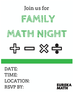 Image showing a blank invitation which can be customized and sent out to families to let them know of an upcoming Family Math Night