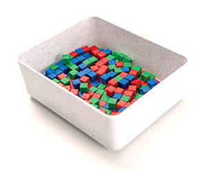Image showing a small basket with assorted centimeter cubes