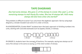 Image showing how students might model their thinking when solving the problem 2 stamps plus 3 stamps, using boxes to represent each stamp. The concrete representation of 2 stamps is mirrored in a tape diagram showing 2/3 of a model shaded in.
