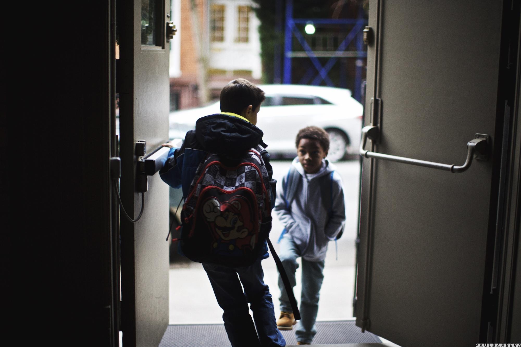 Kid walking into doorway