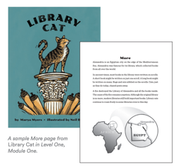 """A book cover image with a cat standing on a pedestal with scrolls coming out from the base of the pedestal. Also an image of a book page that is titled """"More"""" and provides additional details about the city of Alexandria in Egypt."""