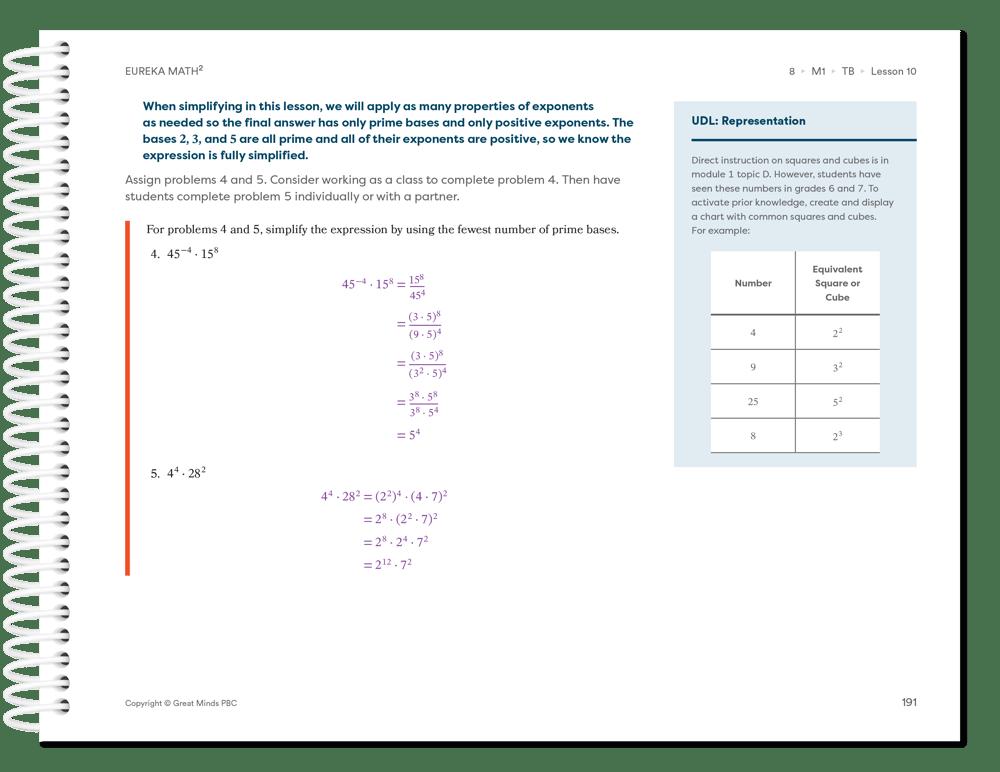 Eureka Math Squared - UDL-Representation