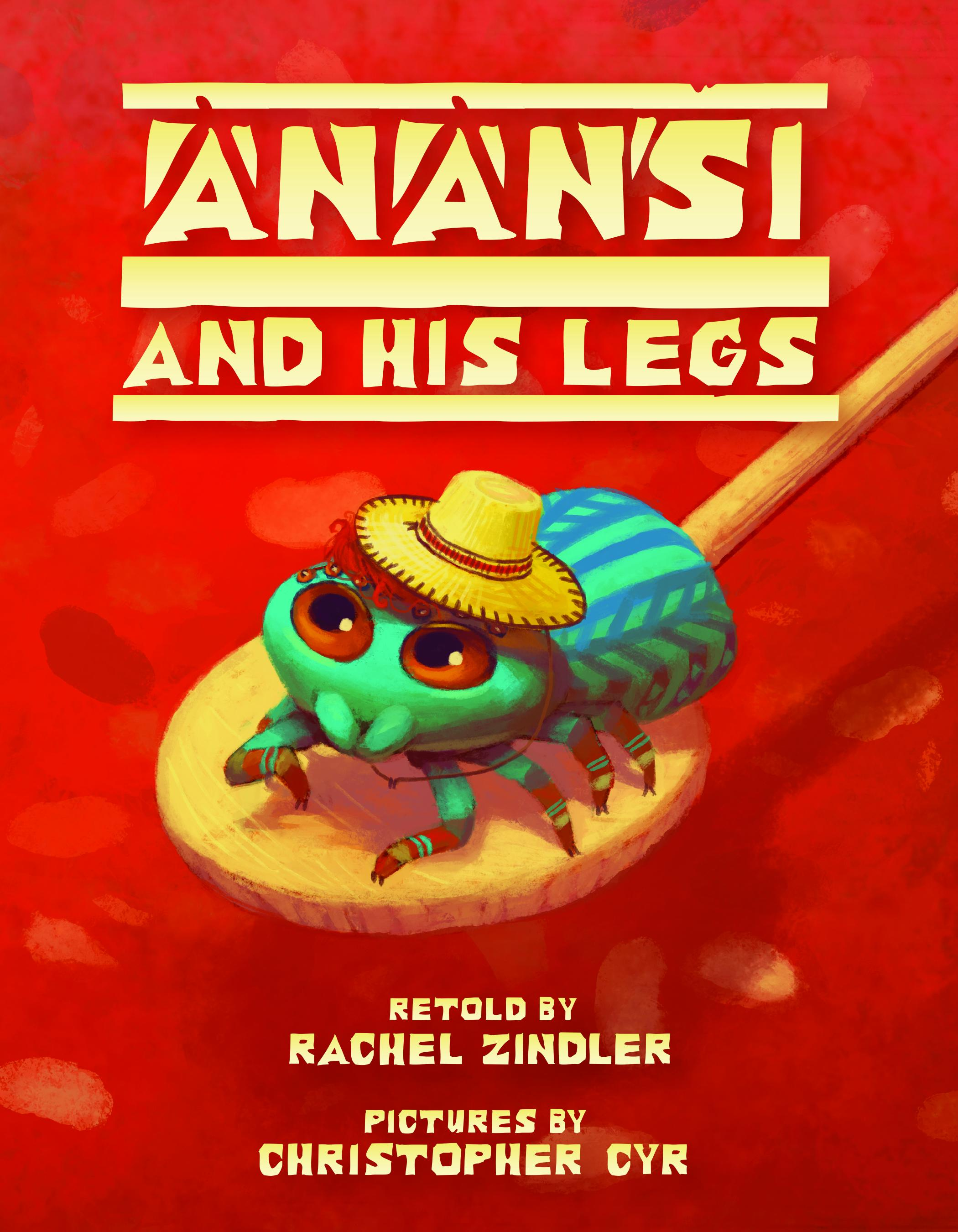 Anasi and His Legs book cover with green beetle wearing a hat on a spoon.