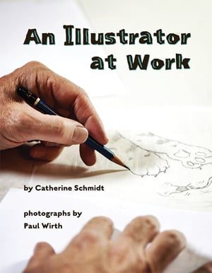 An Illustrator at Work book cover with hand sketching a pencil drawing of a paw.