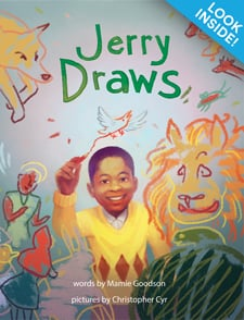 Look inside! Jerry Draws book cover with boy in yellow sweater drawing imaginative characters in the air.