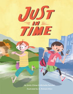 Just in Time book cover with two girls running in opposite directions looking at their watch and their phone.