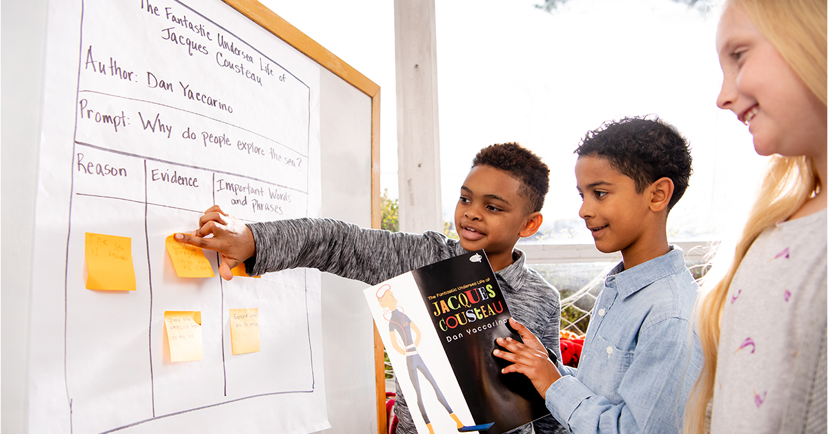 Two students standing in front of a whiteboard, one holding a book and one adding post it notes to the board to contribute to the discussion.