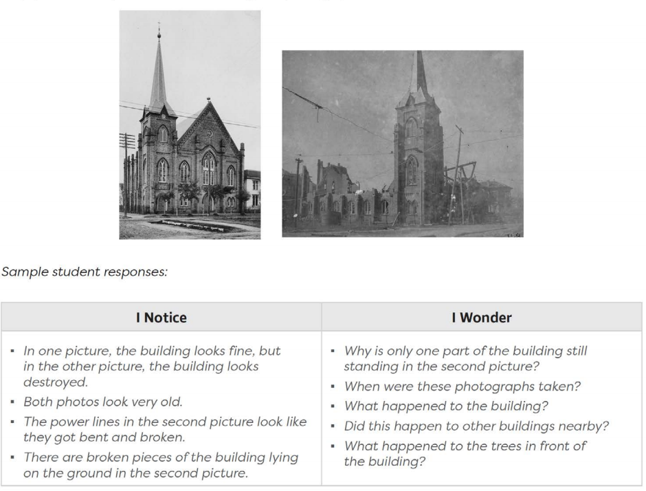 """Two images of the same church are shown side-by-side with the image on the left depicting the church before the Galveston Hurricane struck in 1900 and the image on the right showing the church in ruin after the hurricane. Below the images reads, """"Sample student responses:"""" with a chart below. The chart has two columns. The left column is titled, """"I Notice,"""" and the right column is titled, """"I Wonder."""" Four statements are listed in each column. Under, """"I Notice"""" reads: In one picture, the building looks fine, but in the other picture, the building looks destroyed. Both photos look very old. The power lines in the second picture look like they got bent and broken. There are broken pieces of the building lying on the ground in the second picture. Under the, """"I wonder"""" column there are four questions: Why is only one part of the building still standing in the second picture? When were these photographs taken? What happened to the building? Did this happen to other buildings nearby? What happened to the trees in front of the buildling?"""